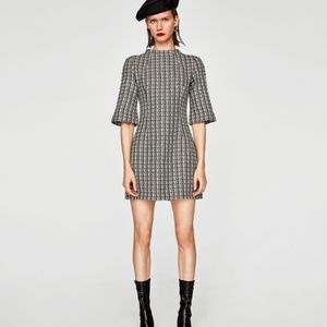 Zara High Neck 'Two Tone Tweed' Dress | F415